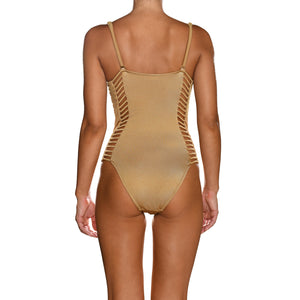 Dark Gold Corset Cutout Swimsuit