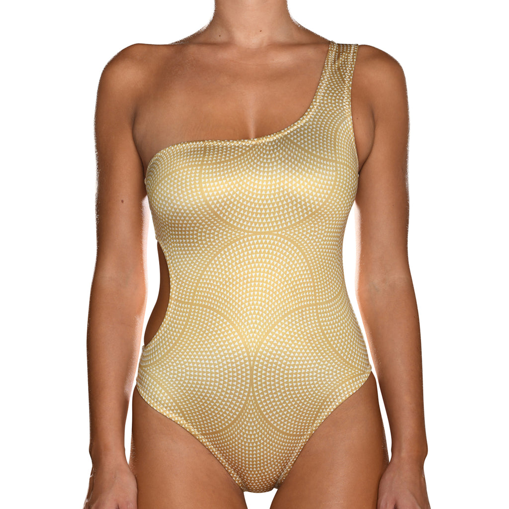 Gold Mosaic One Shoulder Swimsuit