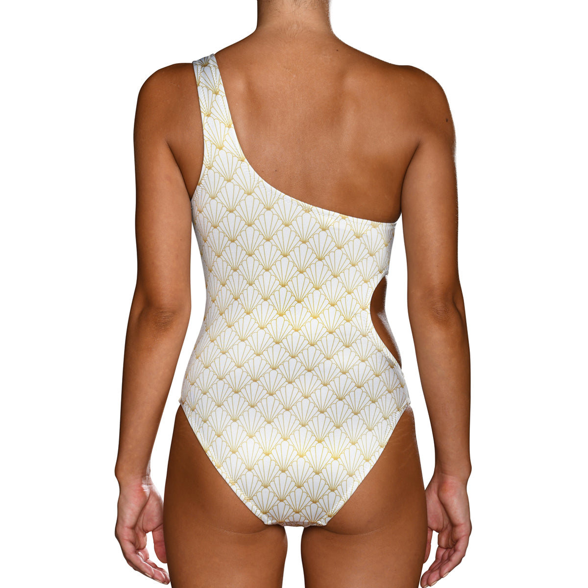 White Shell One Shoulder Swimsuit