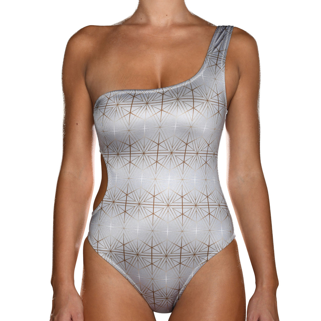 Silver One Shoulder Swimsuit