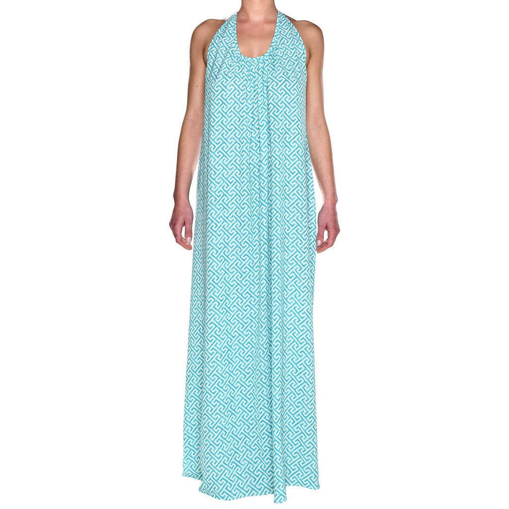 Turquoise Grecian Maxi Dress