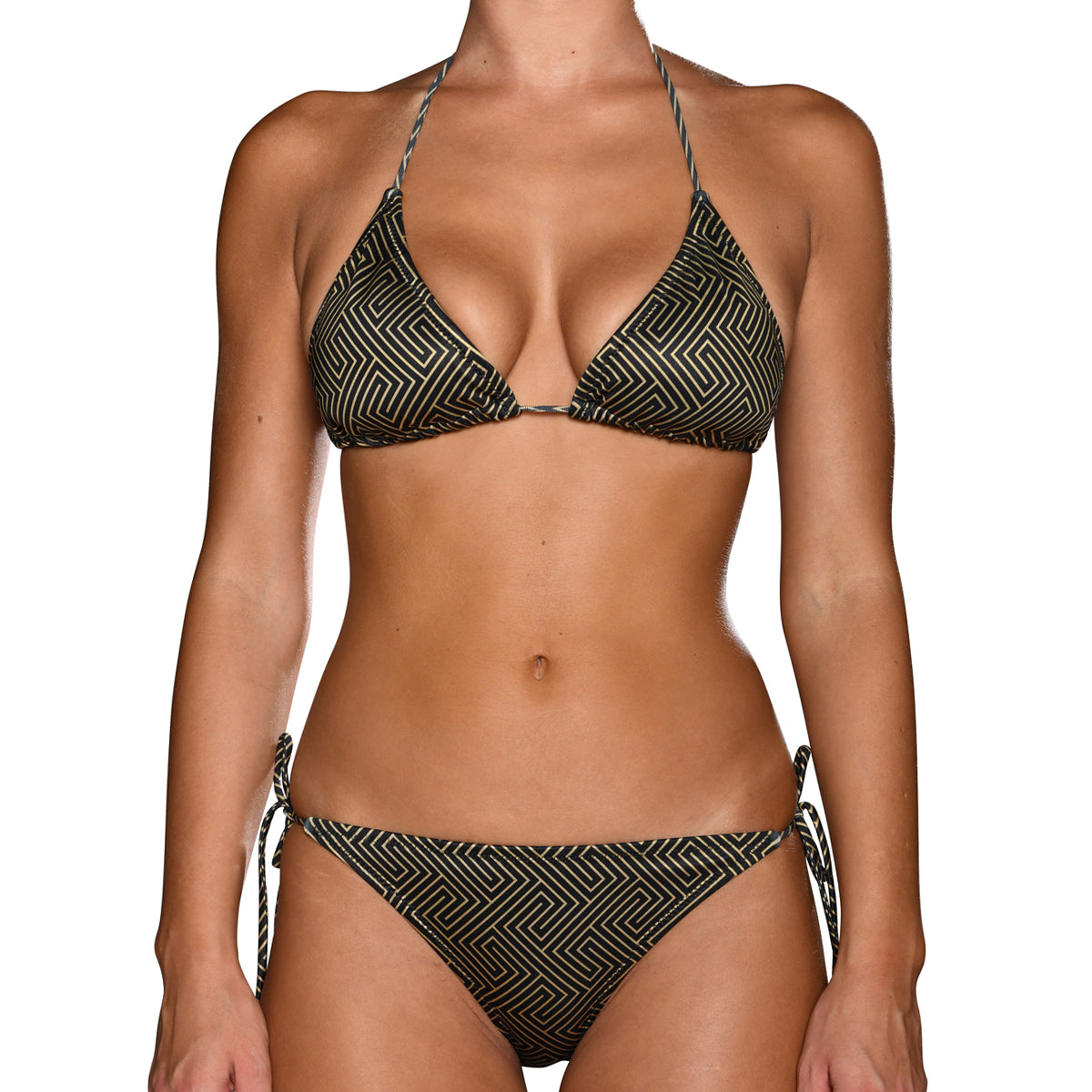 Grecian Black Gold Tie Side Triangle Bikini