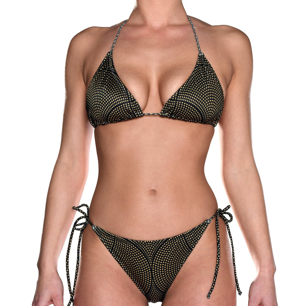 Black & Gold Mosaic Tie Side Triangle Bikini