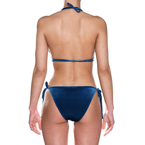 Blue Velvet Tie Side Triangle Bikini