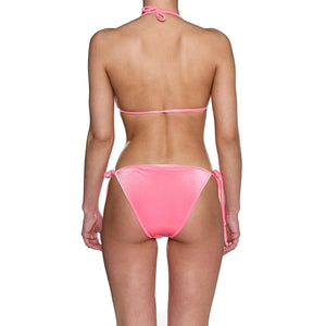 Hot Pink Velvet Tie Side Triangle Bikini