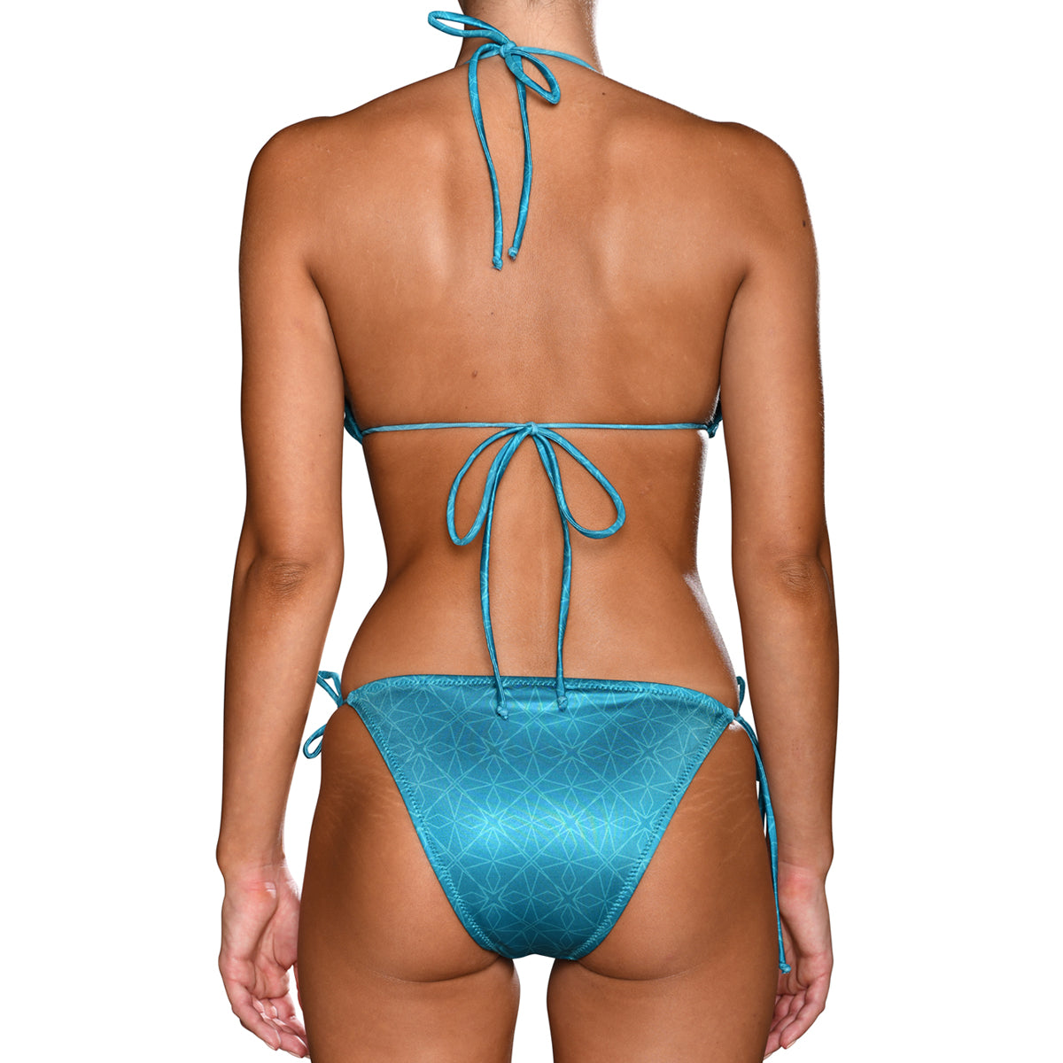 Cerulean Cyan Tie Side Triangle Bikini