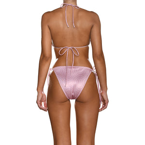 Dusty Pink Pearls Tie Side Triangle Bikini