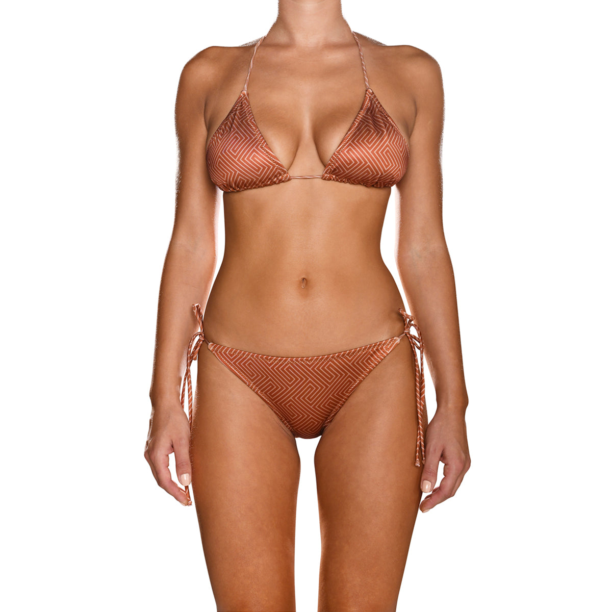 Grecian Brick Red Tie Side Triangle Bikini