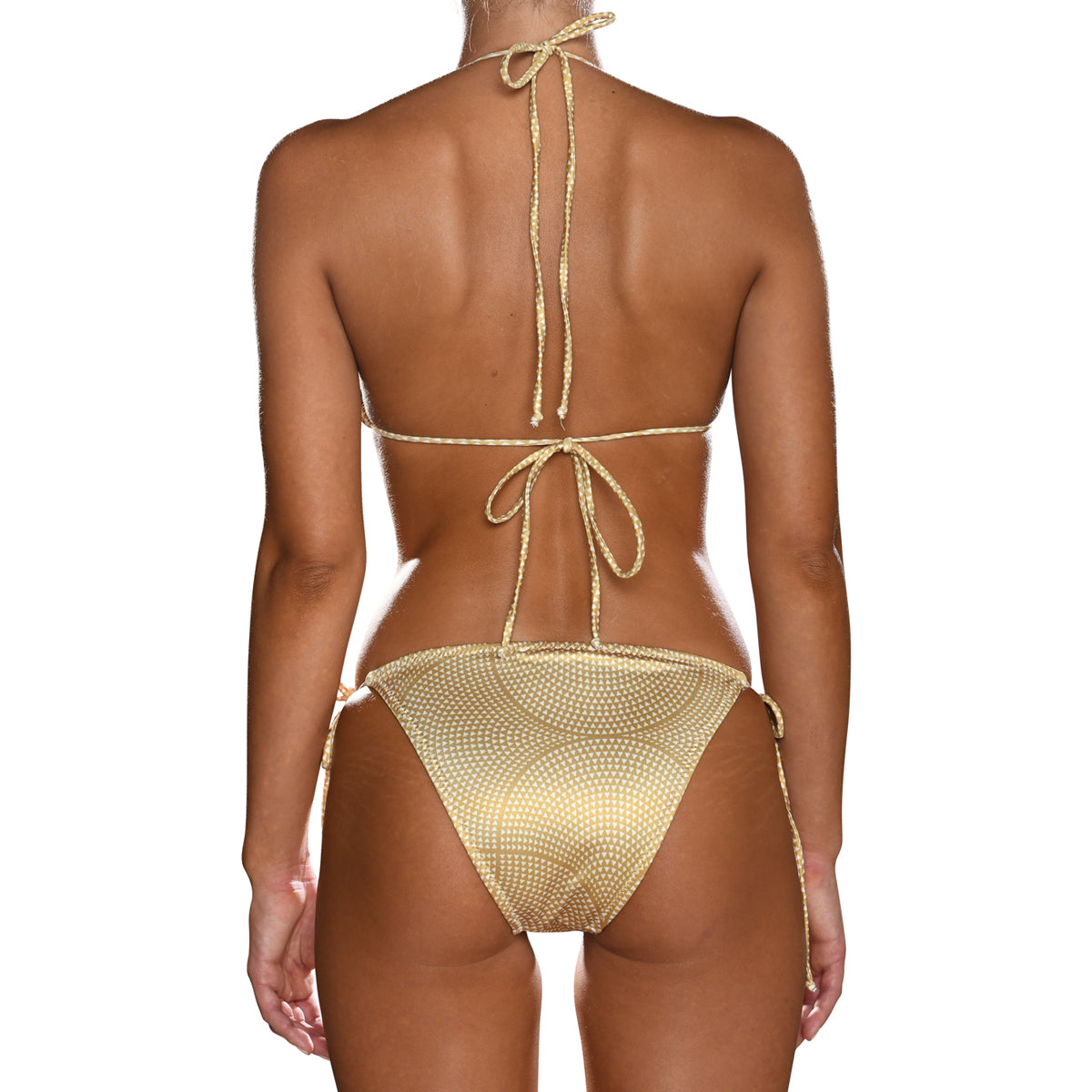 Gold Mosaic Tie Side Triangle Bikini