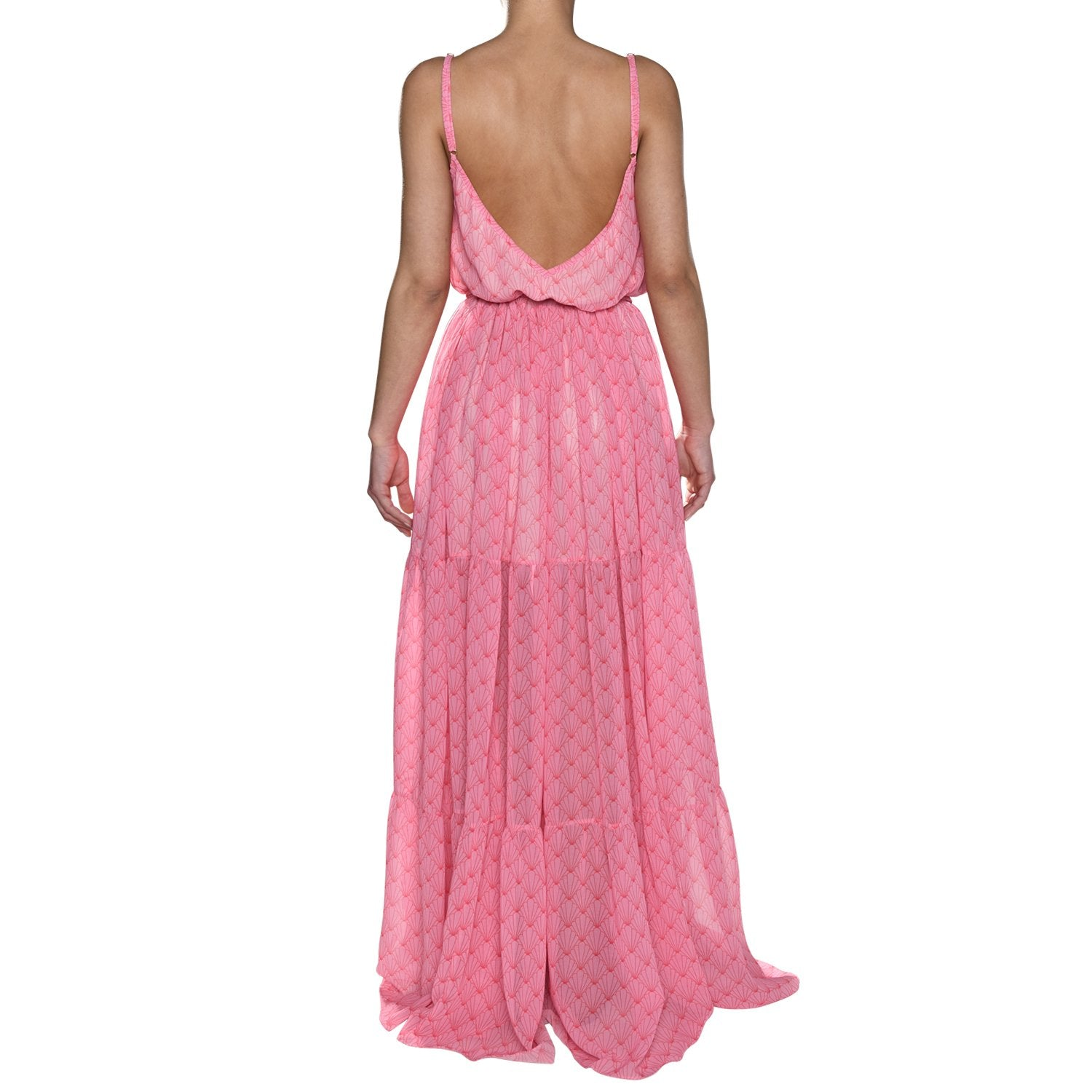 Pink Shell Maxi Ruffle Dress