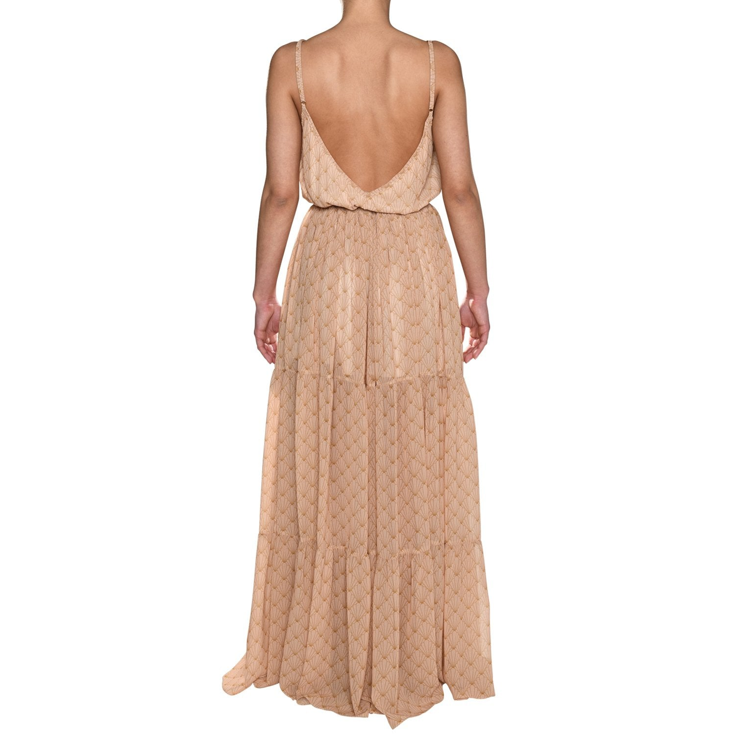Nude Shell Maxi Ruffle Dress