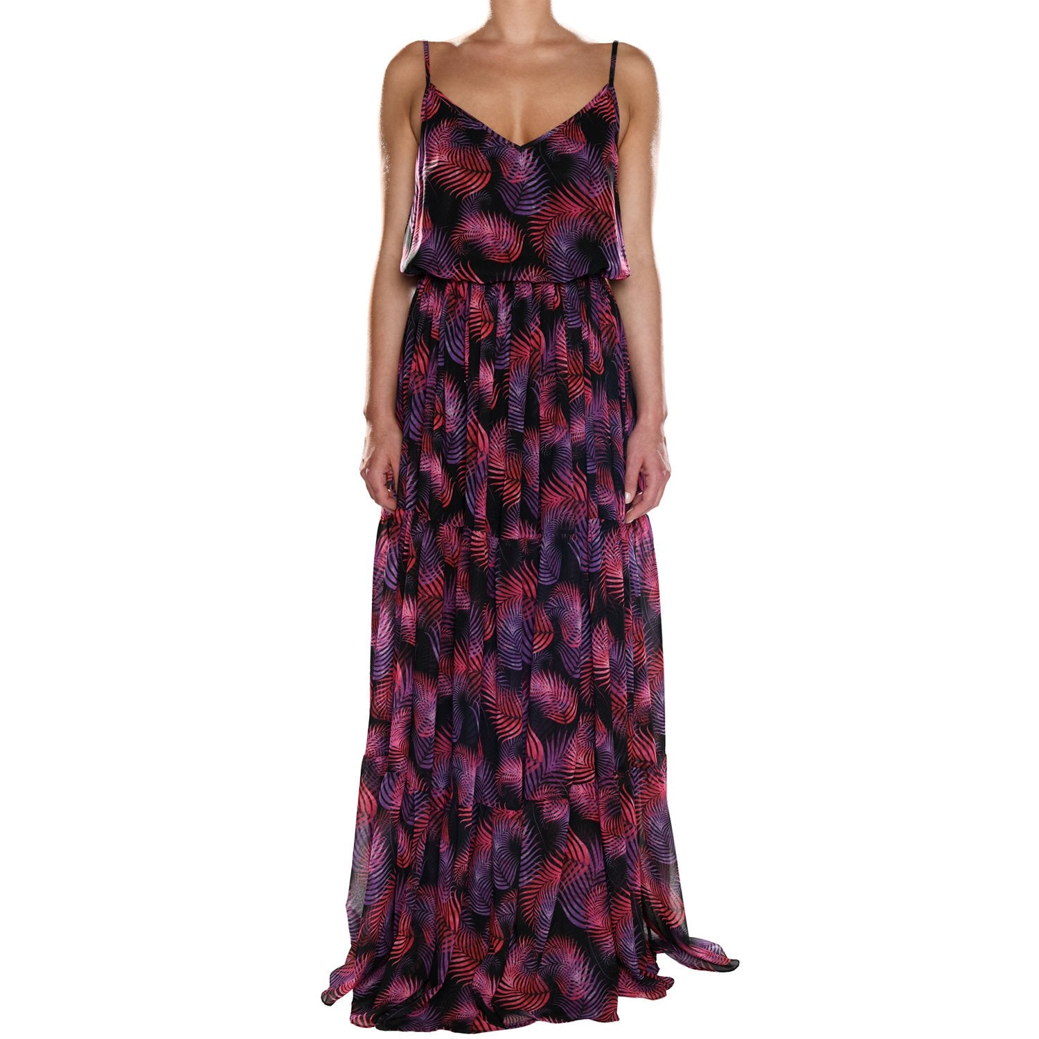 Ruby Leaves Maxi Ruffle Dress