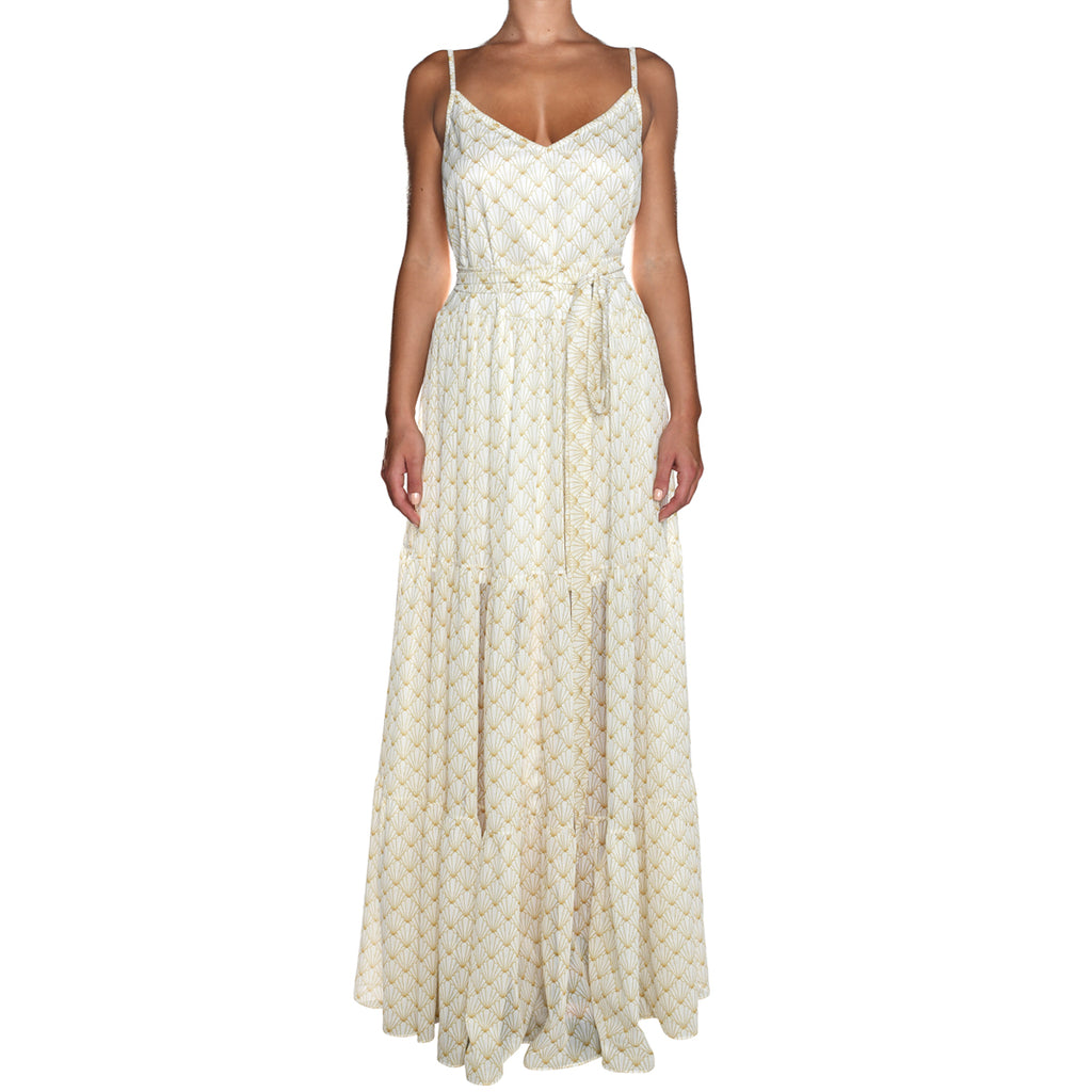 White Shell Maxi Shimmering Ruffle Dress