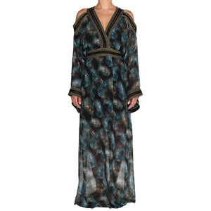 Sapphire Leaves Maxi Gown