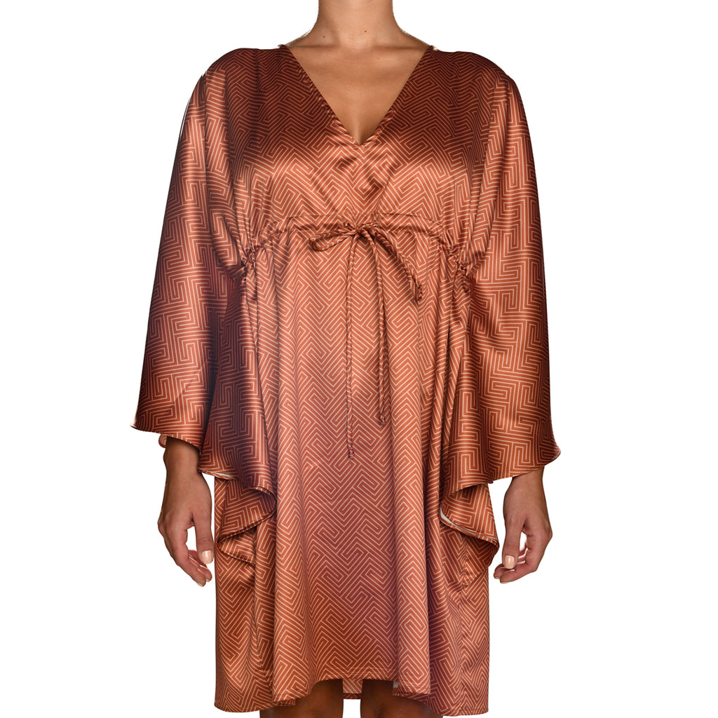 Grecian Brick Red Satin Mini Kaftan