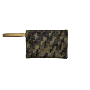 Grecian Black Gold Canvas Clutch with Leather Details