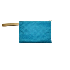 Cerulean Cyan Satin Canvas Clutch with Leather Details
