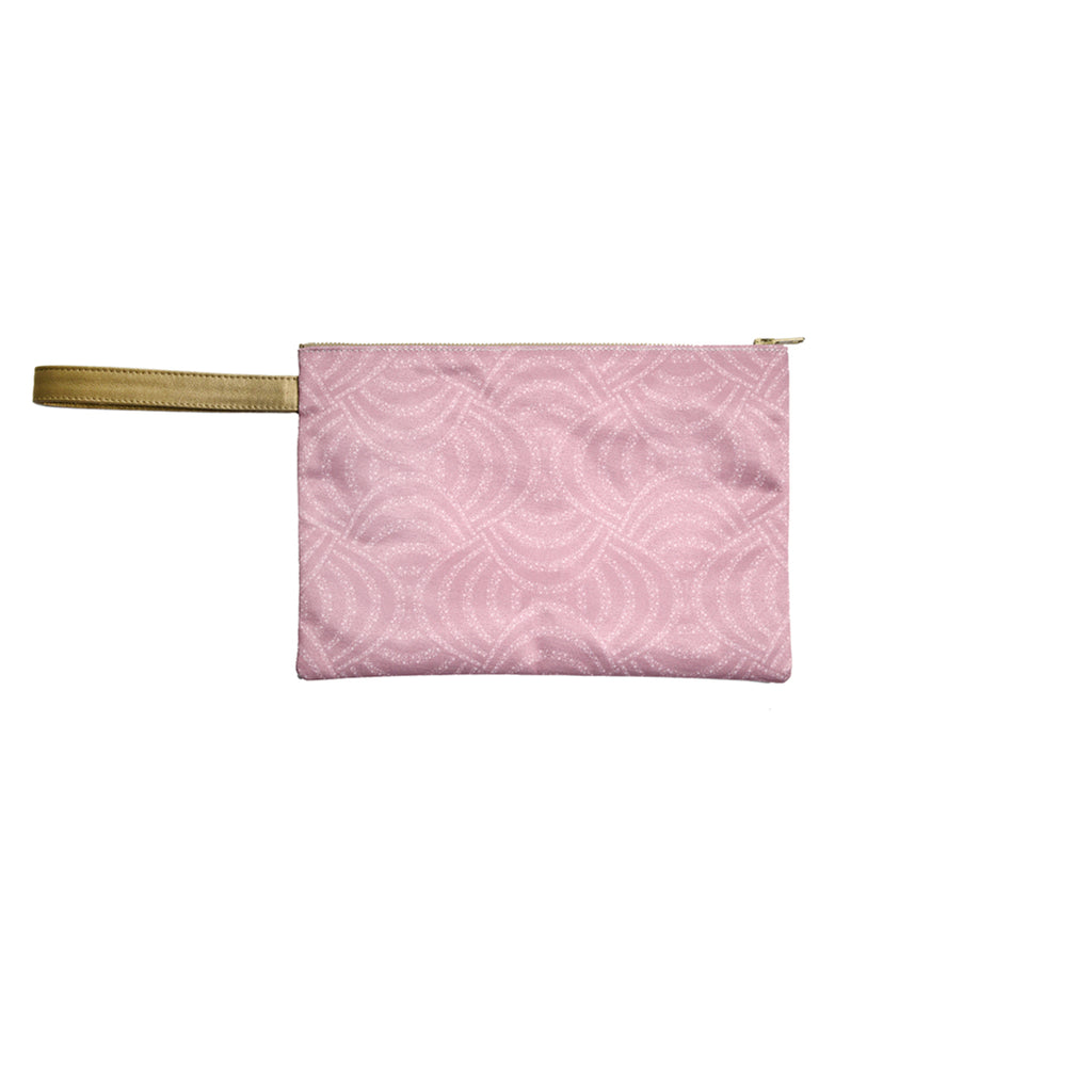 Dusty Pink Pearls Satin Canvas Clutch with Leather Details