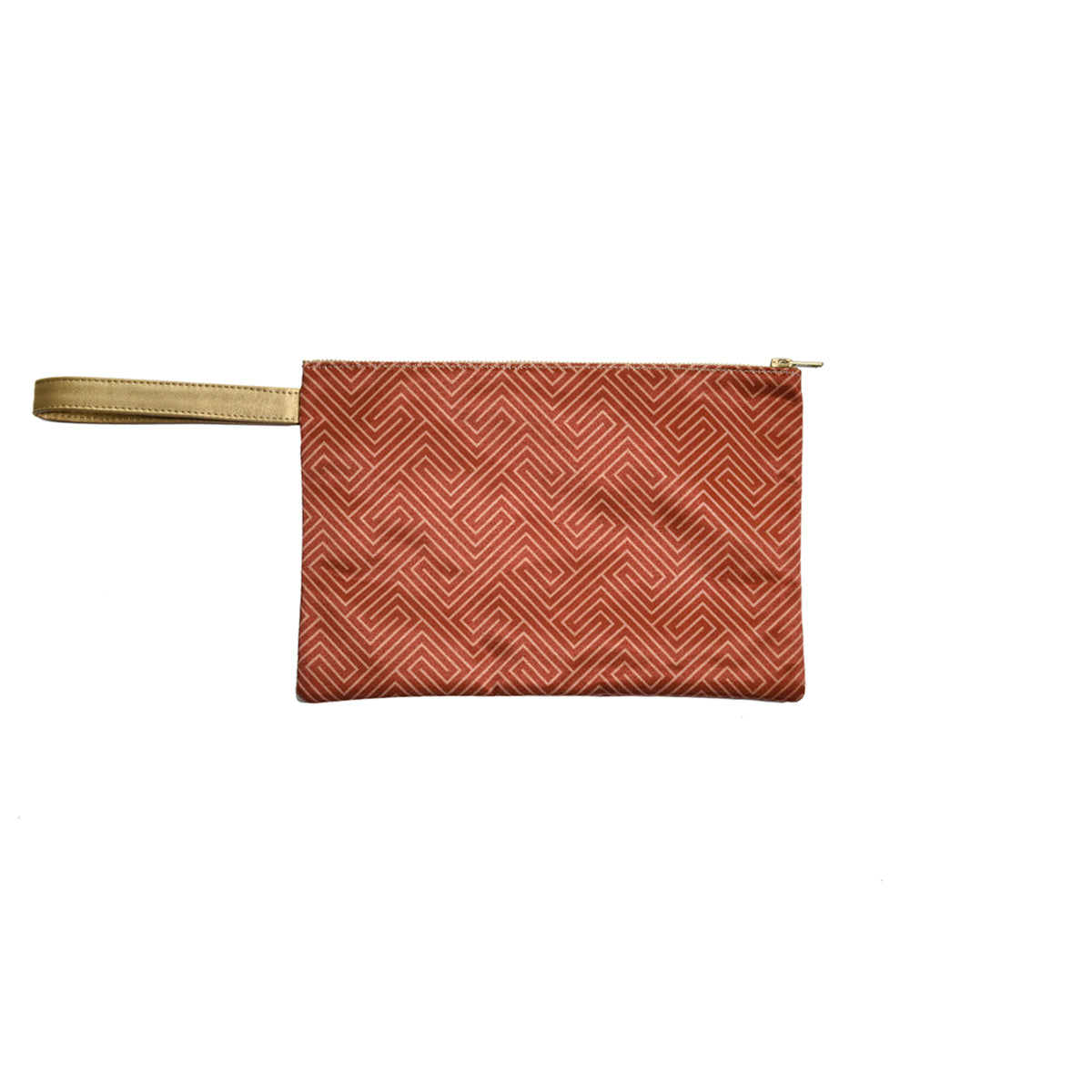 Brick Red Satin Canvas Clutch with Leather Details