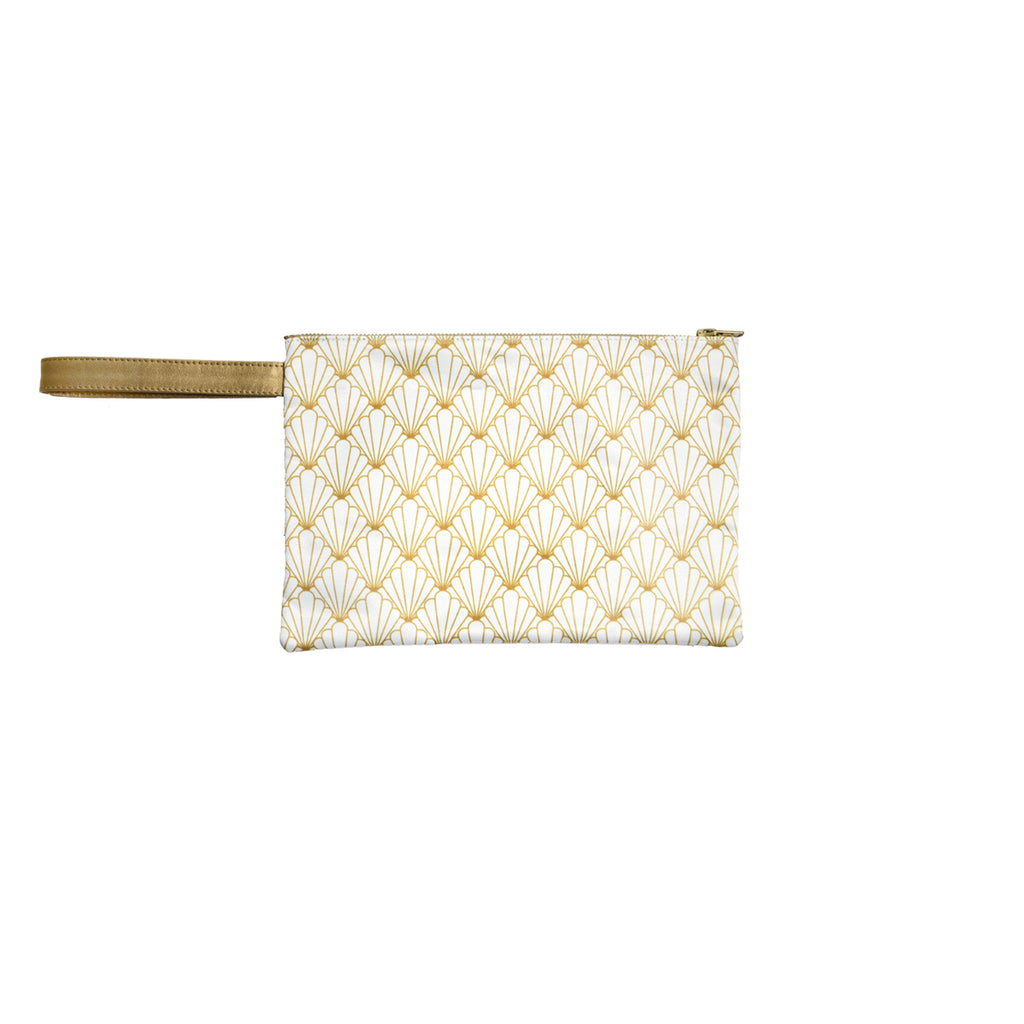White Shell Satin Canvas Clutch with Leather Details