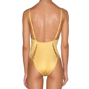 Gold Cutout Swimsuit