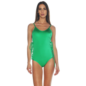 Green Lace Up Side Swimsuit