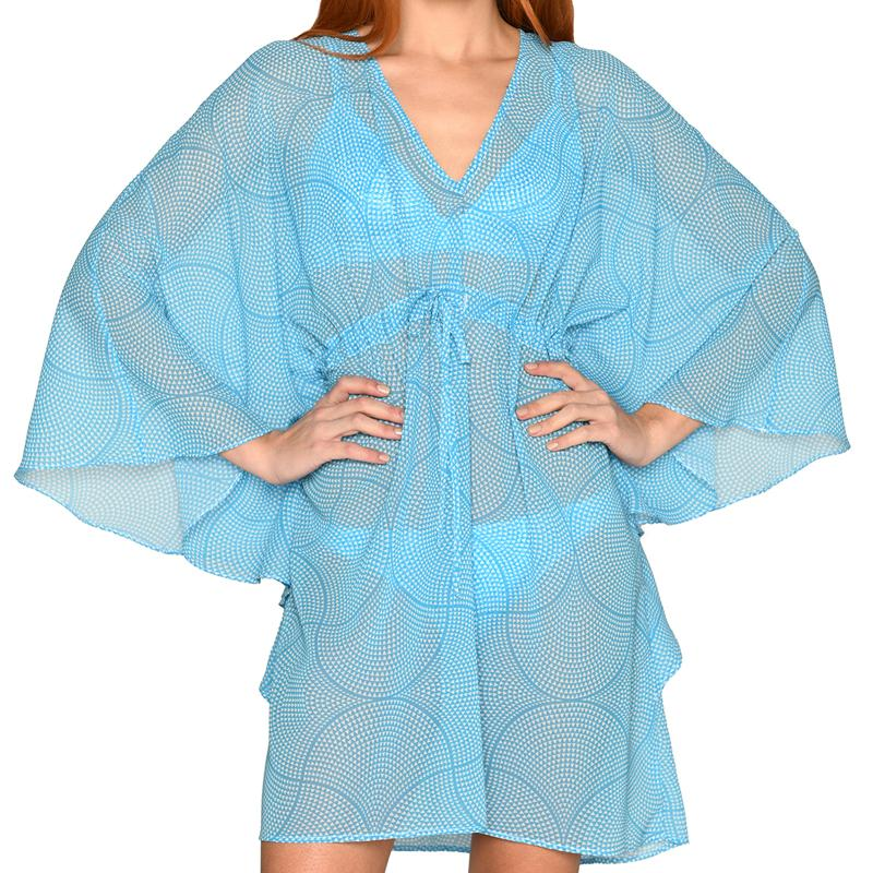 Mosaic Light Blue Mini Kaftan
