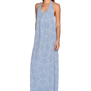 Mosaic Blue Maxi Dress