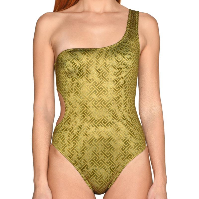 Grecian Olive One Shoulder Swimsuit