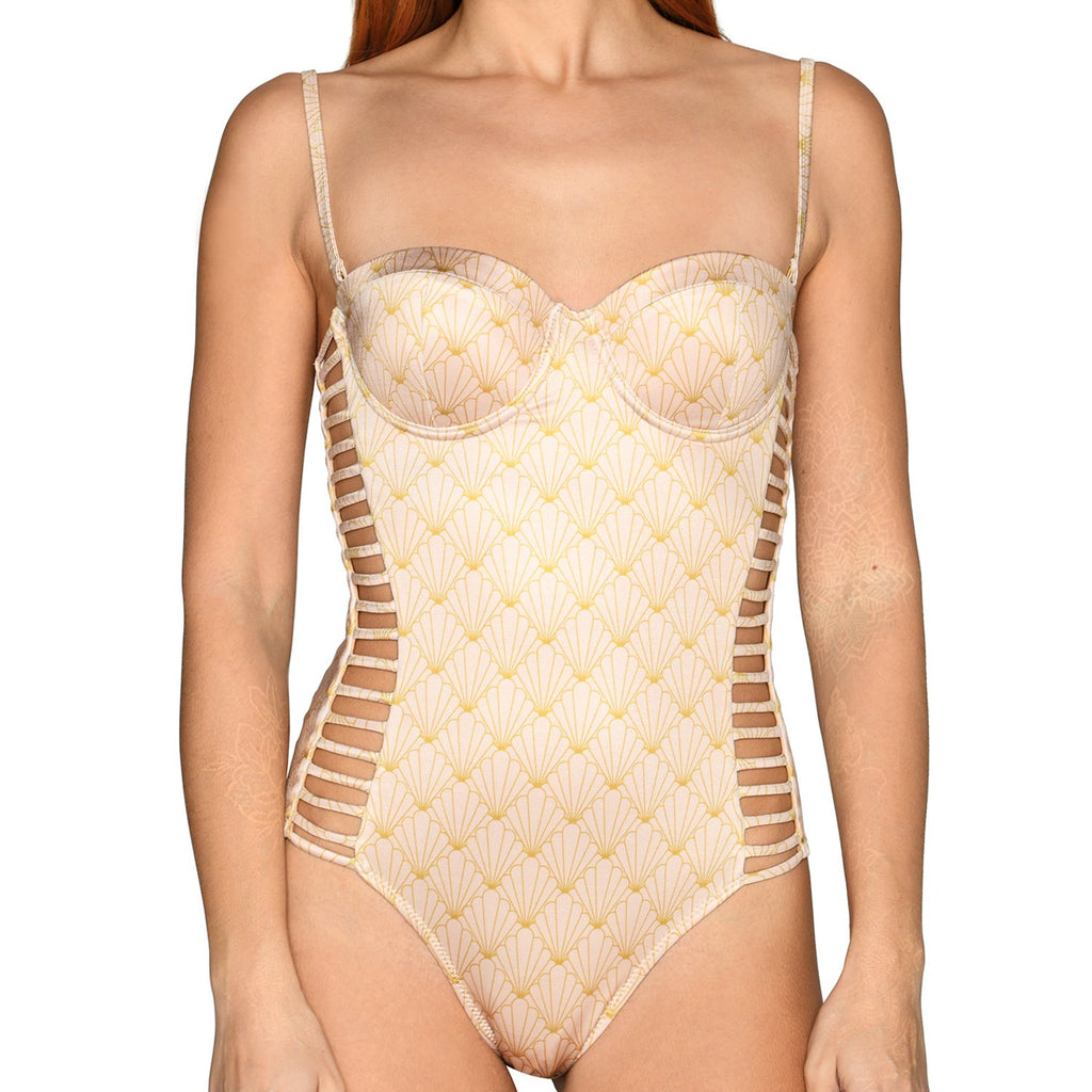 Nude Shell Corset Cutout Swimsuit