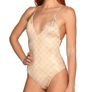 Nude Shell Halter Swimsuit