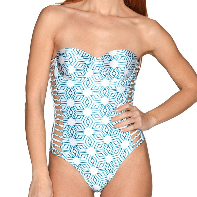 Petrol Star Corset Cutout Swimsuit