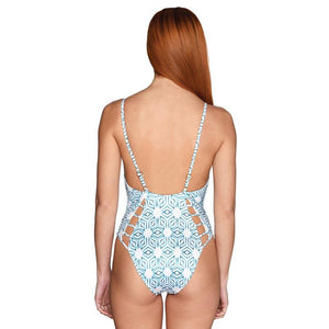 Petrol Star Cutout Swimsuit