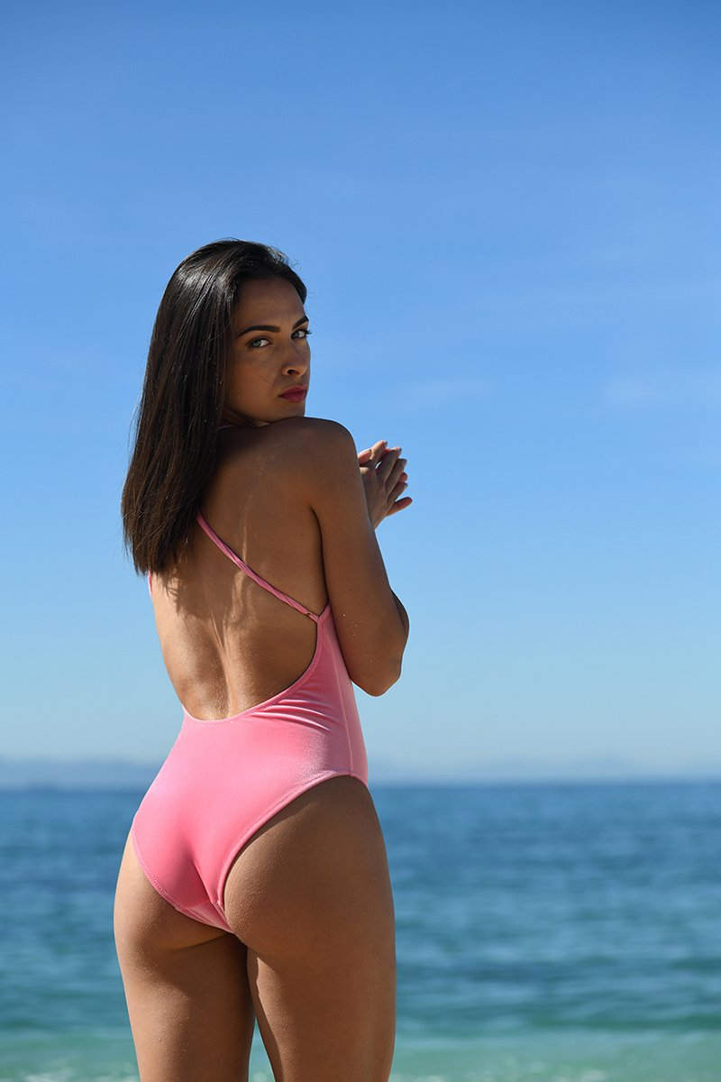 Hot Pink Velvet Halter Swimsuit