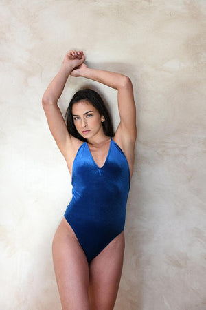 Blue Velvet Halter Swimsuit