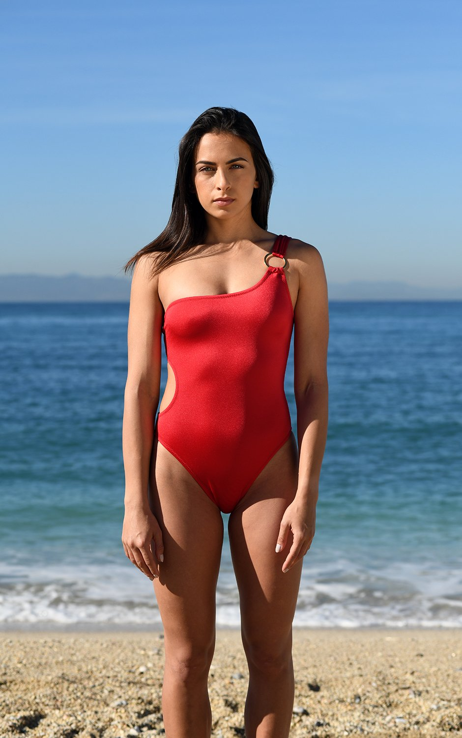 Lava Red One Shoulder Swimsuit