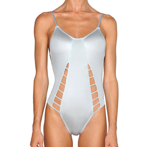 Silver Cutout Swimsuit