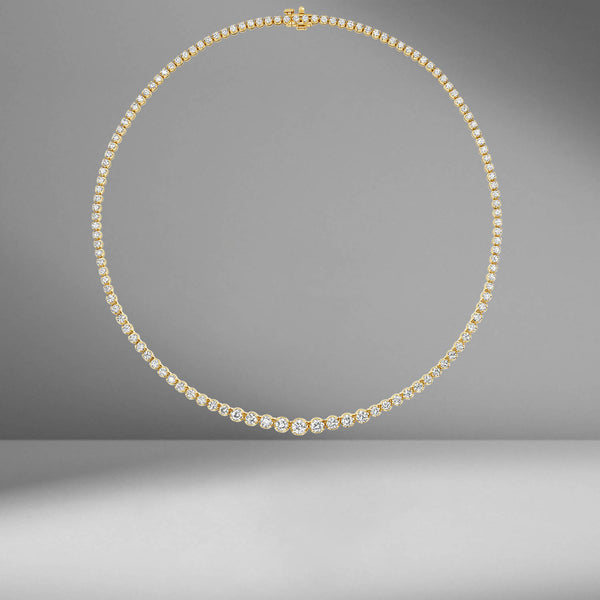 Yellow Gold Graduating Tennis Necklace