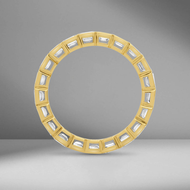 Sideways Set Emerald Cut Eternity Band