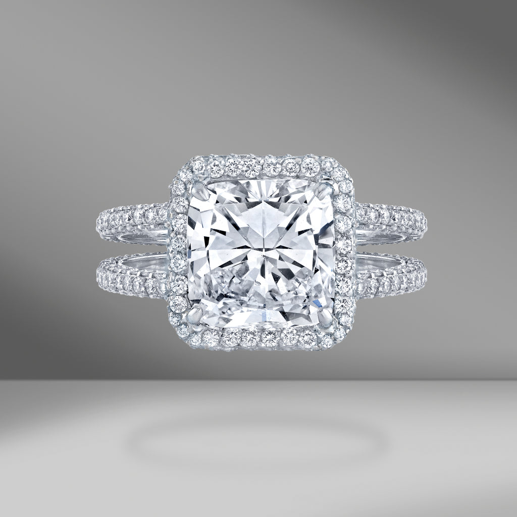 Cushion Cut Halo Ring With Double Diamond Shank