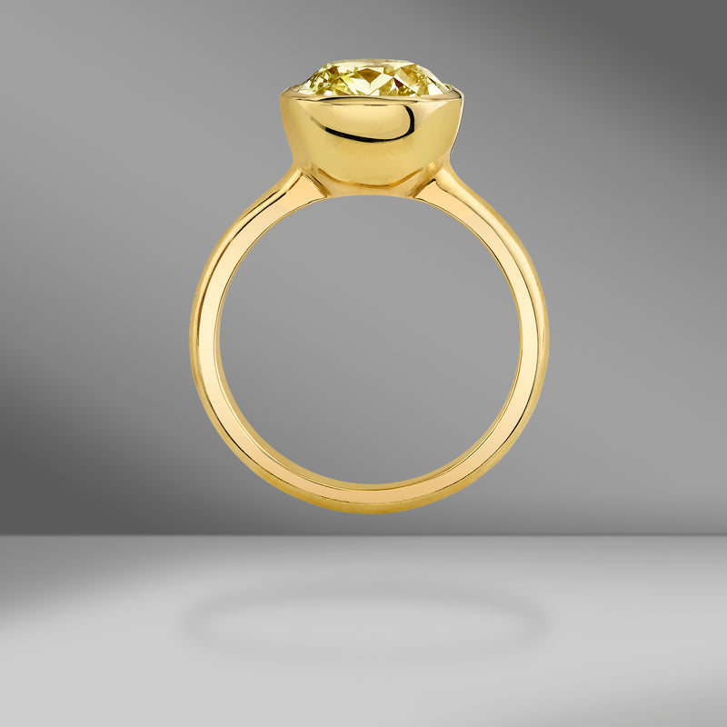Bezel Set Fancy Yellow Cushion Cut