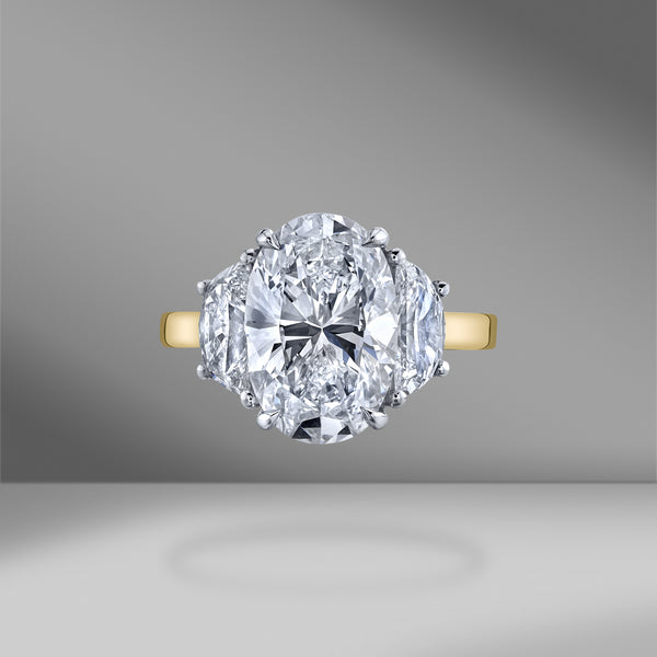 3 Stone Oval Engagement Ring in Two-Tone