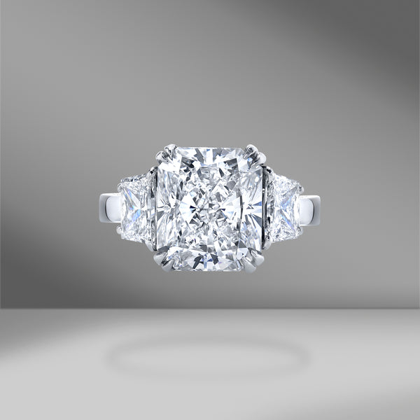 Radiant Cut 3 Stone Engagement Ring