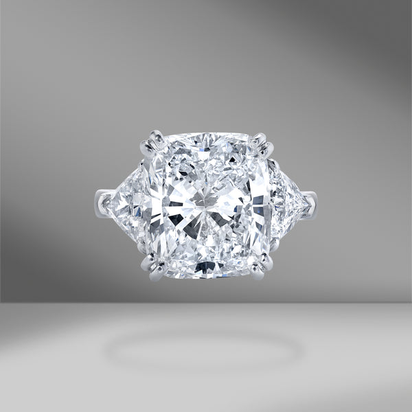 Cushion Cut 3 Stone Engagement Ring