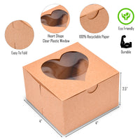 {50-Pack}  Brown Heart Shaped Bakery Boxes with Window 4x4x2.5""