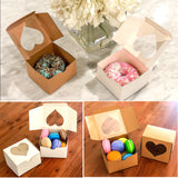 {50-Pack} White Heart Shaped Bakery Boxes 4x4x2.5""