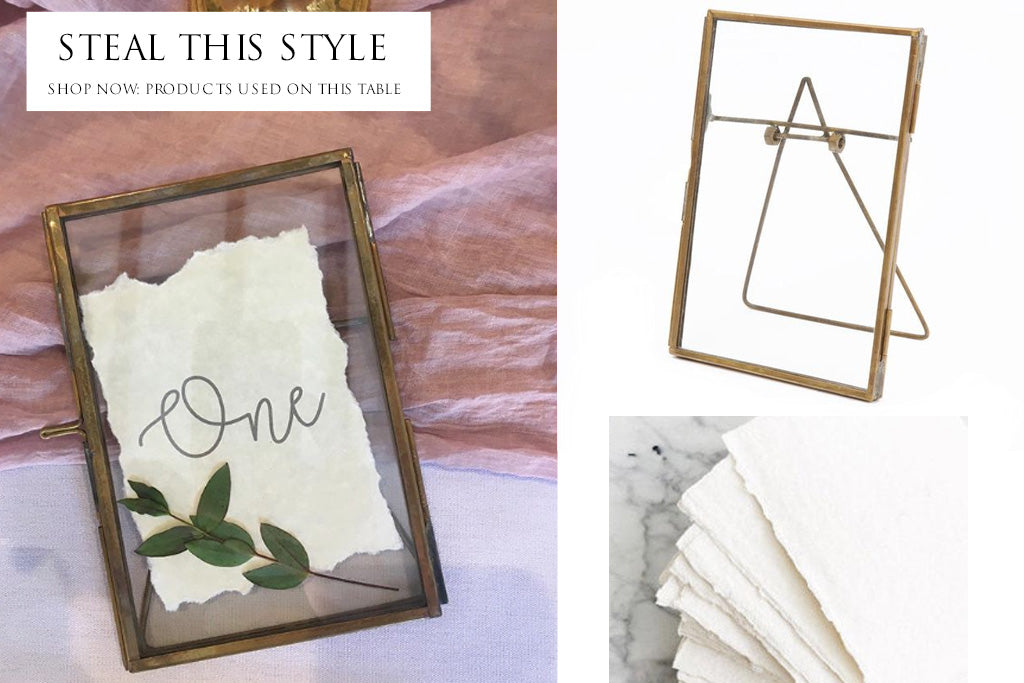 Brass photo frames wedding table nmbers