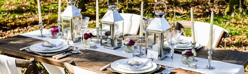 Silver and Glass wedding decorations - Laid back elegance