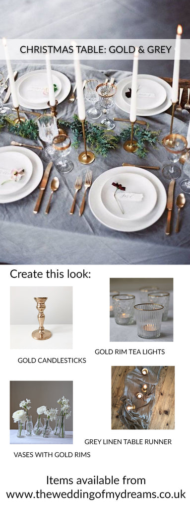 CHRISTMAS TABLE STYLING GOLD GREY
