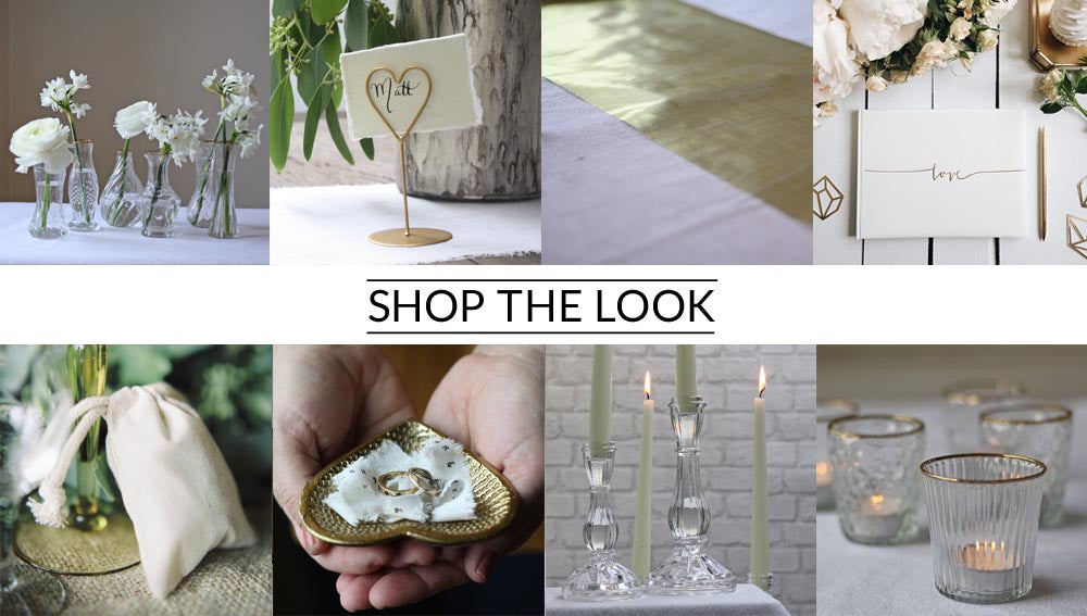 Glas vases with gold rims wedding centrepiece shop the look